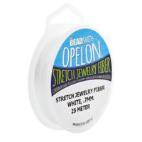Opelon Stretch Jewelry Fiber, White, 0.7 millimeters x 25 meters opelon,stretch,jewelry,cord,string