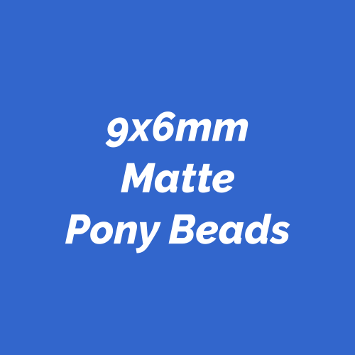 9x6mm Matte finish Pony Beads made in America. Plastic novelty beads made in the USA.