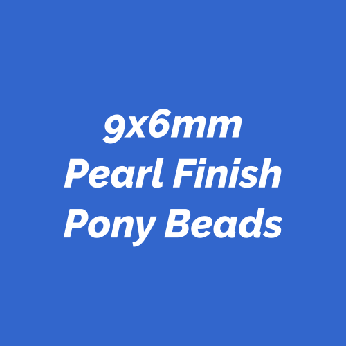 9x6mm Pearl finish Pony Beads made in America. Plastic novelty beads.