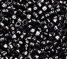 6.5mm Assorted Number Cube Black Beads beads,number