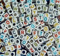 6mm Colorful Alphabet Cube Beads, 200pc beads,alphabet.letter,