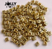6mm Gold Metallic Alphabet Cube Beads 200pc beads,alphabet.letter,