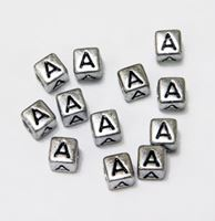 "6mm Silver Metallic Alphabet Beads Black Letter ""A"" beads,alphabet.letter,"