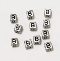 "6mm Silver Metallic Alphabet Beads Black Letter ""B"" beads,alphabet.letter,"
