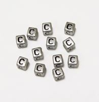 "6mm Silver Metallic Alphabet Beads Black Letter ""C"" beads,alphabet.letter,"