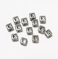 "6mm Silver Metallic Alphabet Beads Black Letter ""E beads,alphabet.letter,"