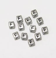 "6mm Silver Metallic Alphabet Beads Black Letter ""F"" beads,alphabet.letter,"