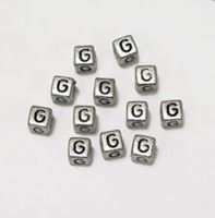 "6mm Silver Metallic Alphabet Beads Black Letter ""G"" beads,alphabet.letter,"