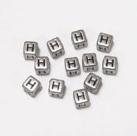 "6mm Silver Metallic Alphabet Beads Black Letter ""H"" beads,alphabet.letter,"