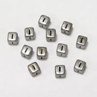 "6mm Silver Metallic Alphabet Beads Black Letter ""I"" beads,alphabet.letter,"