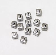 "6mm Silver Metallic Alphabet Beads Black Letter ""J"" beads,alphabet.letter,"