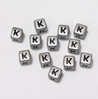 "6mm Silver Metallic Alphabet Beads Black Letter ""K"" beads,alphabet.letter,"