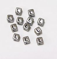 "6mm Silver Metallic Alphabet Beads Black Letter ""L"" beads,alphabet.letter,"
