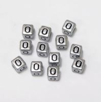 "6mm Silver Metallic Alphabet Beads Black Letter ""O"" beads,alphabet.letter,"