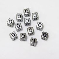 "6mm Silver Metallic Alphabet Beads Black Letter ""Q"" beads,alphabet.letter,"