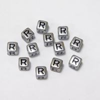 "6mm Silver Metallic Alphabet Beads Black Letter ""R"" beads,alphabet.letter,"