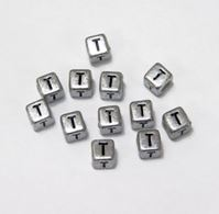 "6mm Silver Metallic Alphabet Beads Black Letter ""T"" beads,alphabet.letter,"