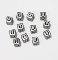 "6mm Silver Metallic Alphabet Beads Black Letter ""U"" beads,alphabet.letter,"