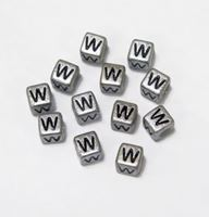 "6mm Silver Metallic Alphabet Beads Black Letter ""W"" beads,alphabet.letter,"