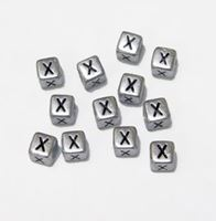 "6mm Silver Metallic Alphabet Beads Black Letter ""X"" beads,alphabet.letter,"