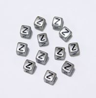 "6mm Silver Metallic Alphabet Beads Black Letter ""Z"" beads,alphabet.letter,"