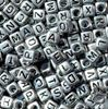 6mm Silver Metallic Alphabet Cube Beads 200pc