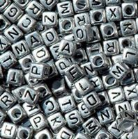 6mm Silver Metallic Alphabet Cube Beads 200pc beads,alphabet.letter,