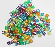 7mm Alphabet Cube Beads Multi Transparent Colors 160pc beads,alphabet.letter,