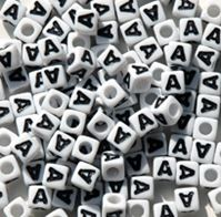 "7mm Alphabet Cube Brite Beads - Letter ""A"" beads,alphabet.letter,"