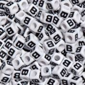 7mm White Cube Alphabet Beads