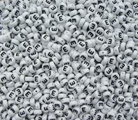 "7mm Alphabet Disc Brite Beads - Letter ""E"" alphabet,beads,letters"