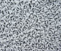 "7mm Alphabet Disc Brite Beads - Letter ""S"" alphabet,beads,letters"