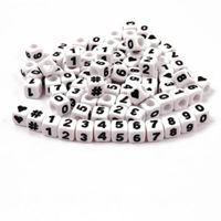 7mm Assorted Number Cube Brite Beads beads,number