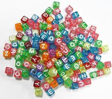 8mm Alphabet Cube Beads Multi Transparent Colors with Glitter 160pc beads,alphabet.letter,
