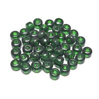 9mm Transparent Emerald India Glass Crow Beads 100pc india,indian,crow,pony,roller,beads