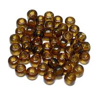 9mm Transparent Topaz India Glass Crow Beads 100pc india,indian,crow,pony,roller,beads