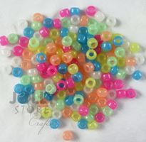 9x6mm Multi Colors Glow Pony Beads 500pc kids,beads,crafts,pony beads