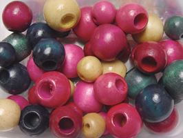 Colorful Wood Crafts Beads 45pc Assorted Colors and Large Sizes wood,beads,color