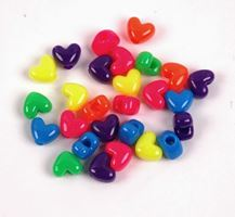 Neon Multi Colors Heart Shaped Pony Beads neon,crafts,hearts,beads