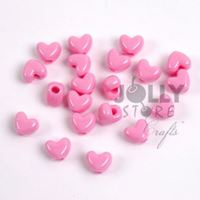 Opaque Pink Heart Shaped Pony Beads crafts,hearts,beads