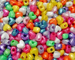 Pearl Multi Colors Heart Shaped Pony Beads crafts,hearts,beads