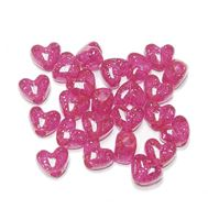 Transparent Hot Pink with Silver Glitter Heart Shaped Pony Beads crafts,hearts,beads