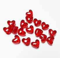 Transparent Light Ruby Red with Silver Glitter Heart Shaped Pony Beads crafts,hearts,beads