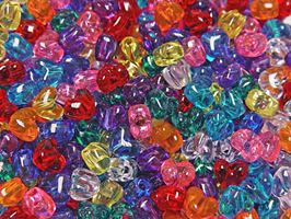 Hearts Transparent Multi Colors 100pc crafts,hearts,beads
