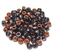 Jet / Copper Czech Glass 9mm Pony Beads 100pc czech,Czechoslovakian,glass,crow,beads,9mm,pony