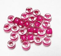Lined Hot Pink Czech Glass 9mm Pony Beads 100pc czech,Czechoslovakian,glass,crow,beads,9mm,pony
