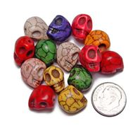 Multi Colors Skull Beads Semi Precious Stone Howlite skull,beads,crafts