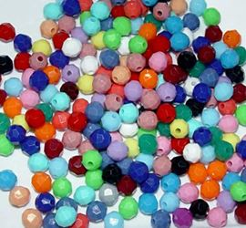 Opaque Multi Colors 6mm Faceted Round Beads facted,beads,crafts,plastic,acrylic,round,colors,beading,stores