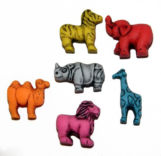 Safari Circus Animals Shapes Pony Beads Made in the USA antiqued multi colors