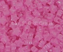 Stars Glow Pink 100pc crafts,stars,beads